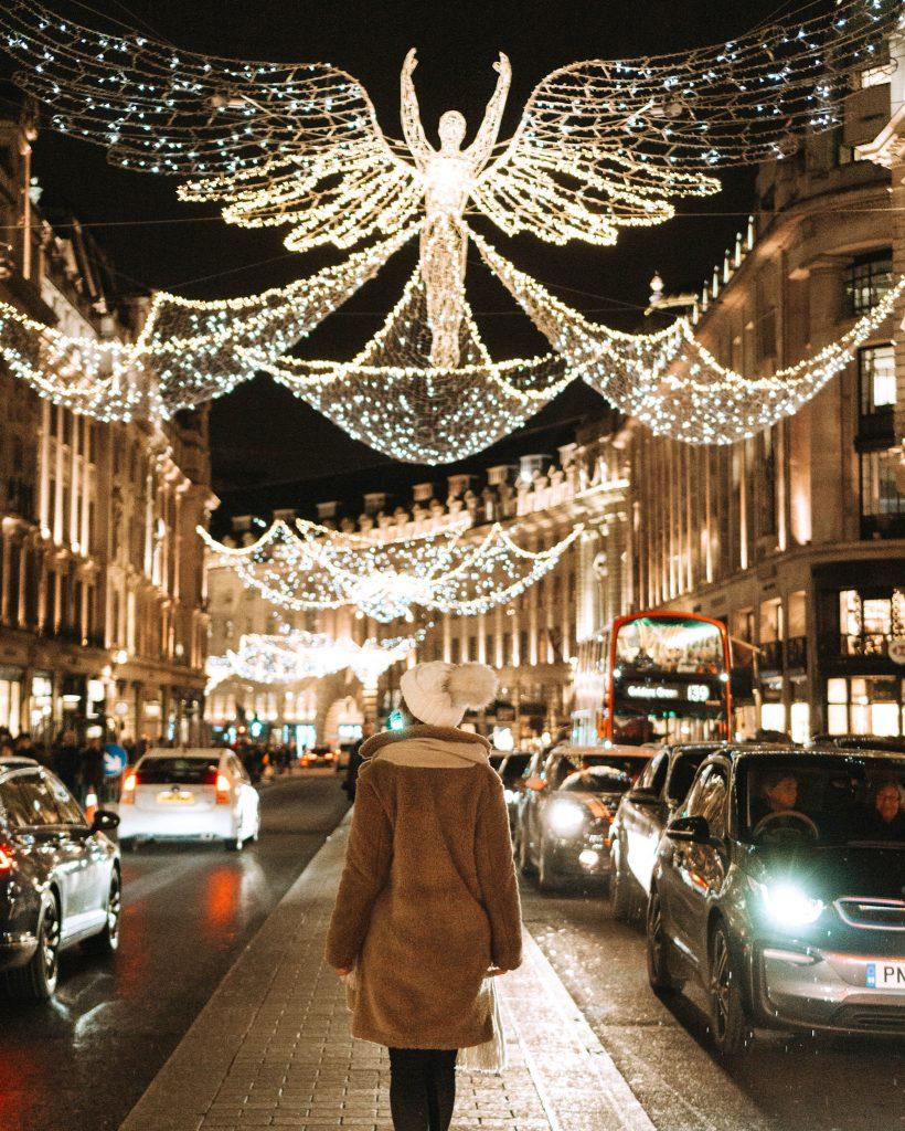Christmas lights in London on Regent Street